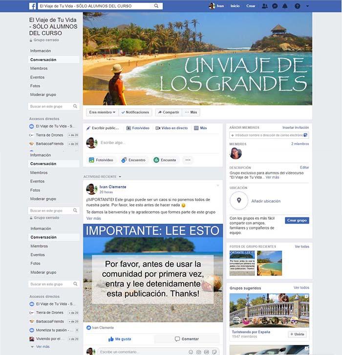 Comunidad Privada de Facebook Un Viaje de los Grandes